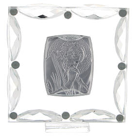 Quadretto Cristo in preghiera cristalli bianchi 7x7 cm s3