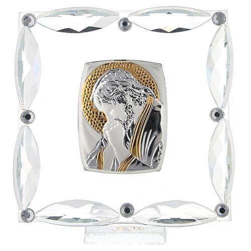 Quadretto Cristo in preghiera cristalli bianchi 7x7 cm 1