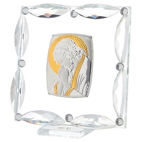 Quadretto Cristo in preghiera cristalli bianchi 7x7 cm 2