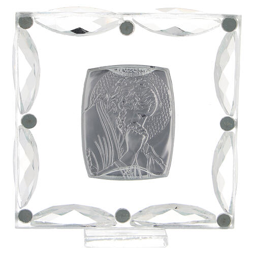 Quadretto Cristo in preghiera cristalli bianchi 7x7 cm 3