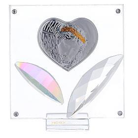 Cadre coeur Christ argent et feuilles s1