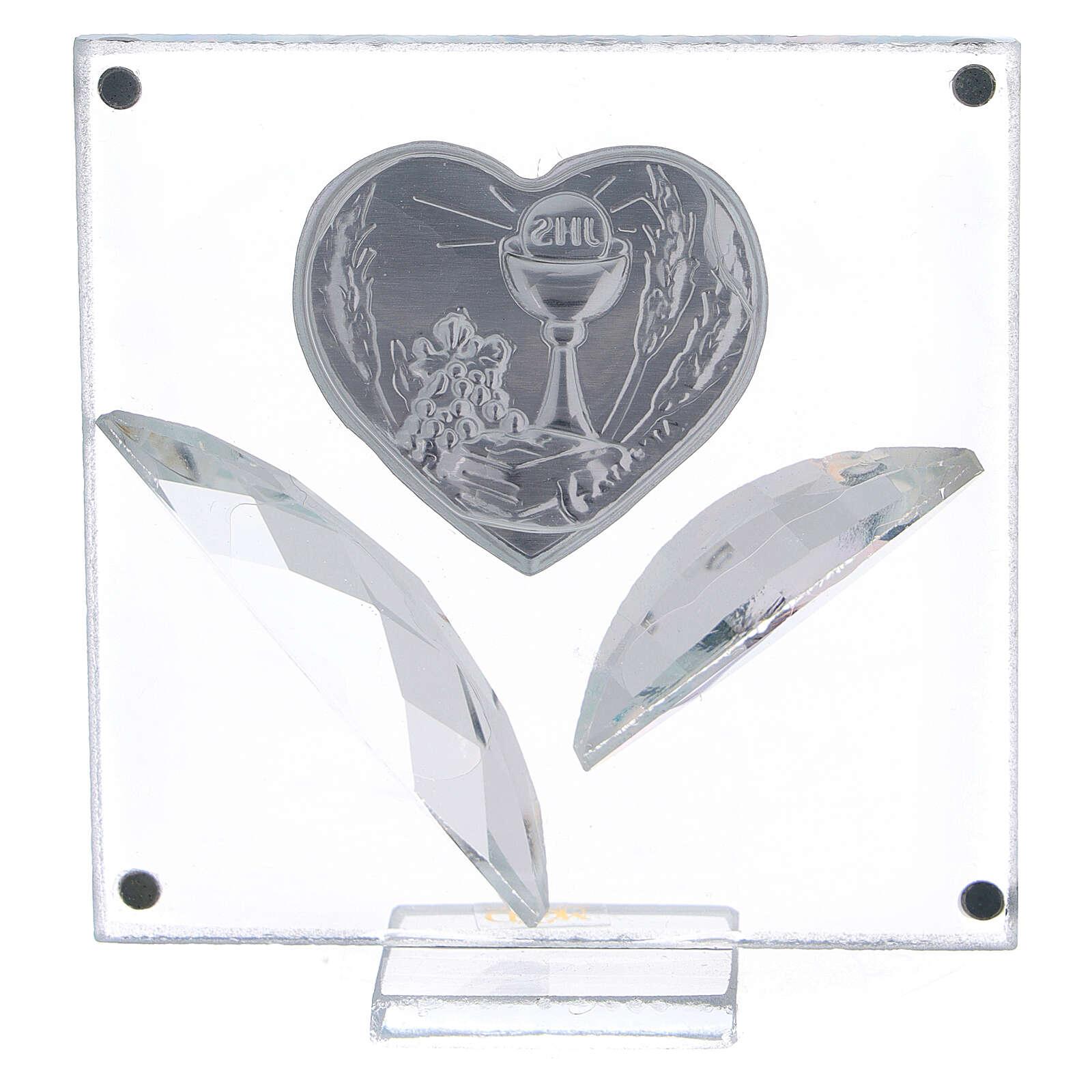 Quadretto cuore bilaminato foglie Comunione 7x7 cm 3