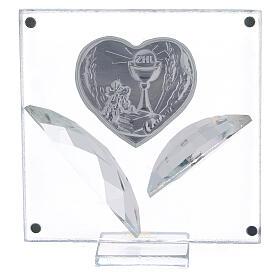 Quadretto cuore bilaminato foglie Comunione 7x7 cm s3