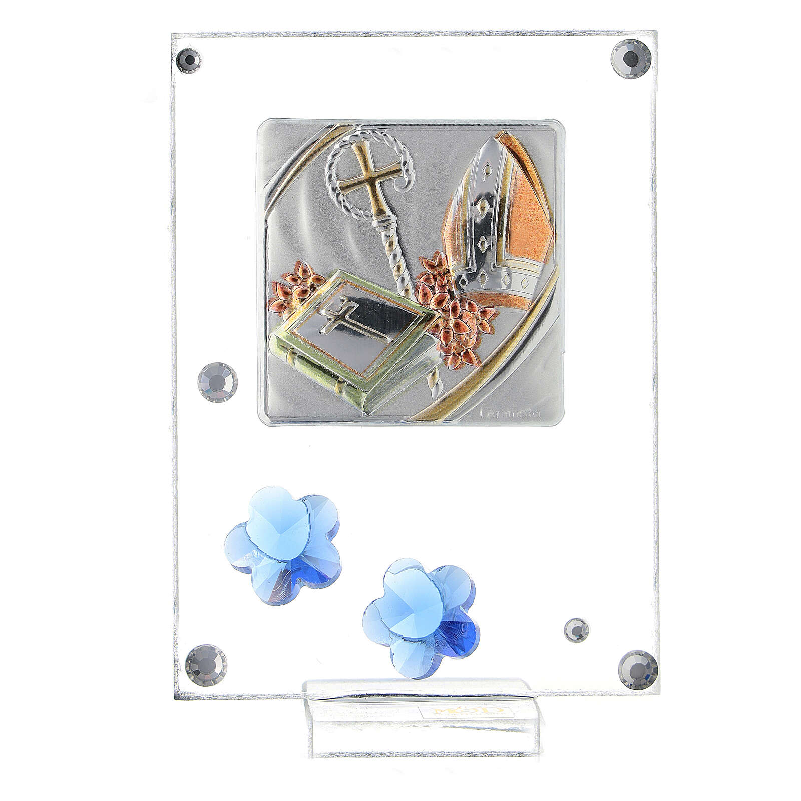 Cuadrito Confirmación bilaminado flores azules 10x5 cm 3