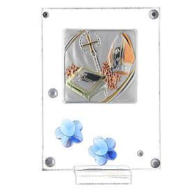 Cuadrito Confirmación bilaminado flores azules 10x5 cm s1