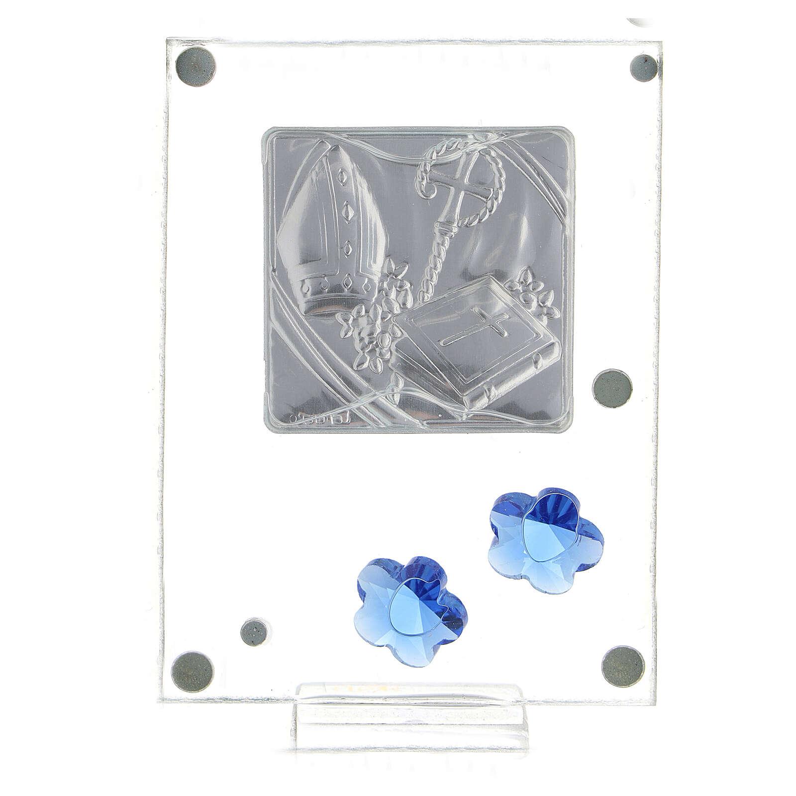 Quadretto Cresima bilaminato fiorellini blu 10x5 cm 3