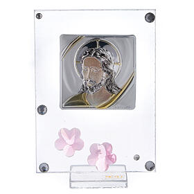 Cuadrito Cristo bilaminado flores rosas 10x5 cm s1