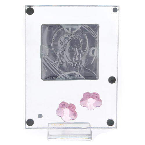 Cuadrito Cristo bilaminado flores rosas 10x5 cm 3