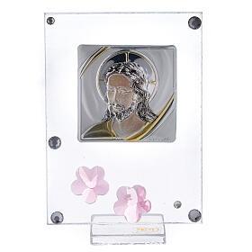 Quadretto Cristo bilaminato fiori rosa 10x5 cm s1