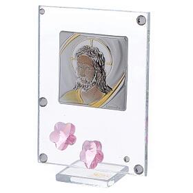 Quadretto Cristo bilaminato fiori rosa 10x5 cm s2