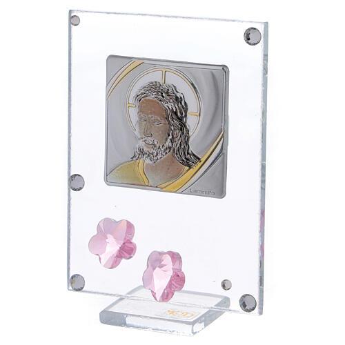 Quadretto Cristo bilaminato fiori rosa 10x5 cm 2