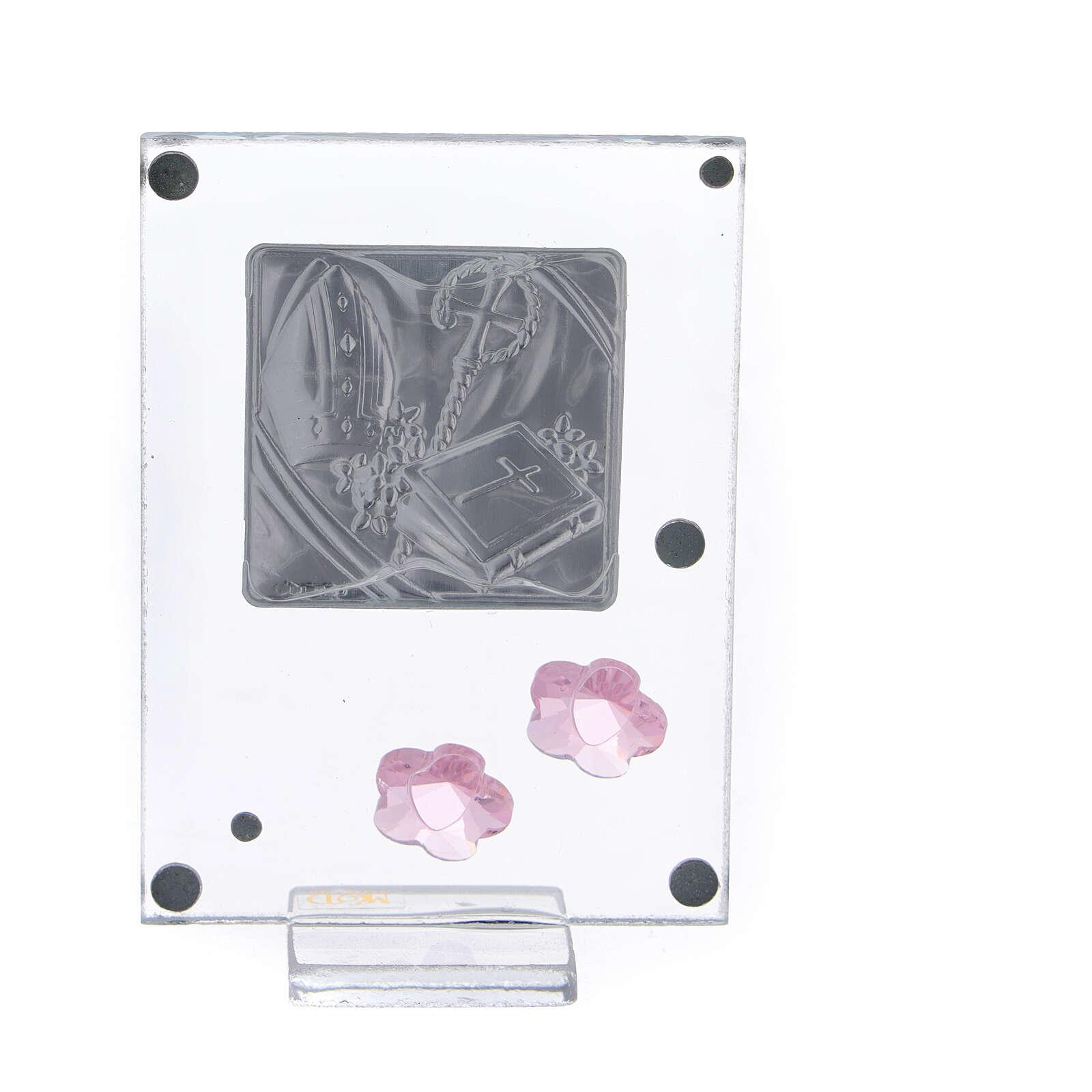 Quadretto Cresima bilaminato fiorellini rosa 10x5 cm 3