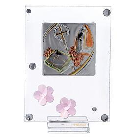 Quadretto Cresima bilaminato fiorellini rosa 10x5 cm s1