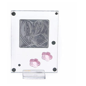 Quadretto Cresima bilaminato fiorellini rosa 10x5 cm s3