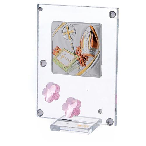 Quadretto Cresima bilaminato fiorellini rosa 10x5 cm 2
