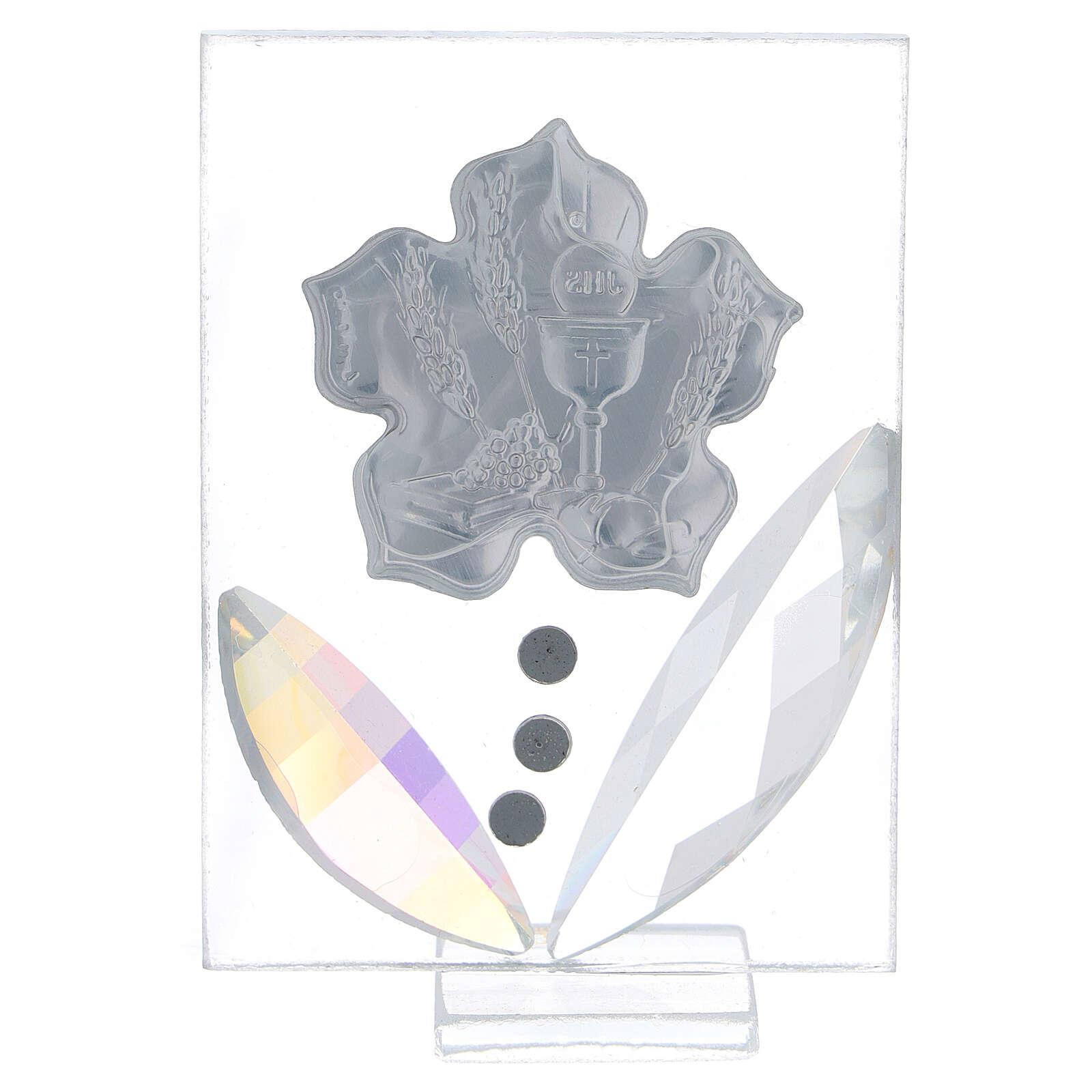 Quadretto fiore Prima Comunione bilaminato 10x5 cm 3