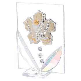 Quadretto fiore Prima Comunione bilaminato 10x5 cm s2