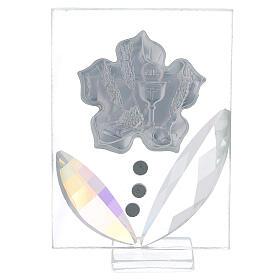 Quadretto fiore Prima Comunione bilaminato 10x5 cm s3
