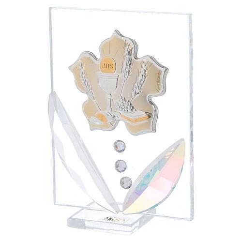 Quadretto fiore Prima Comunione bilaminato 10x5 cm 2