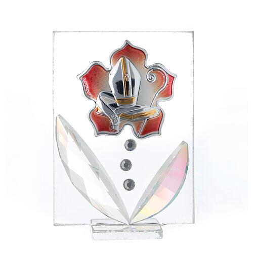 Cuadrito Confirmación flor rojo bilaminado 10x5 cm 1