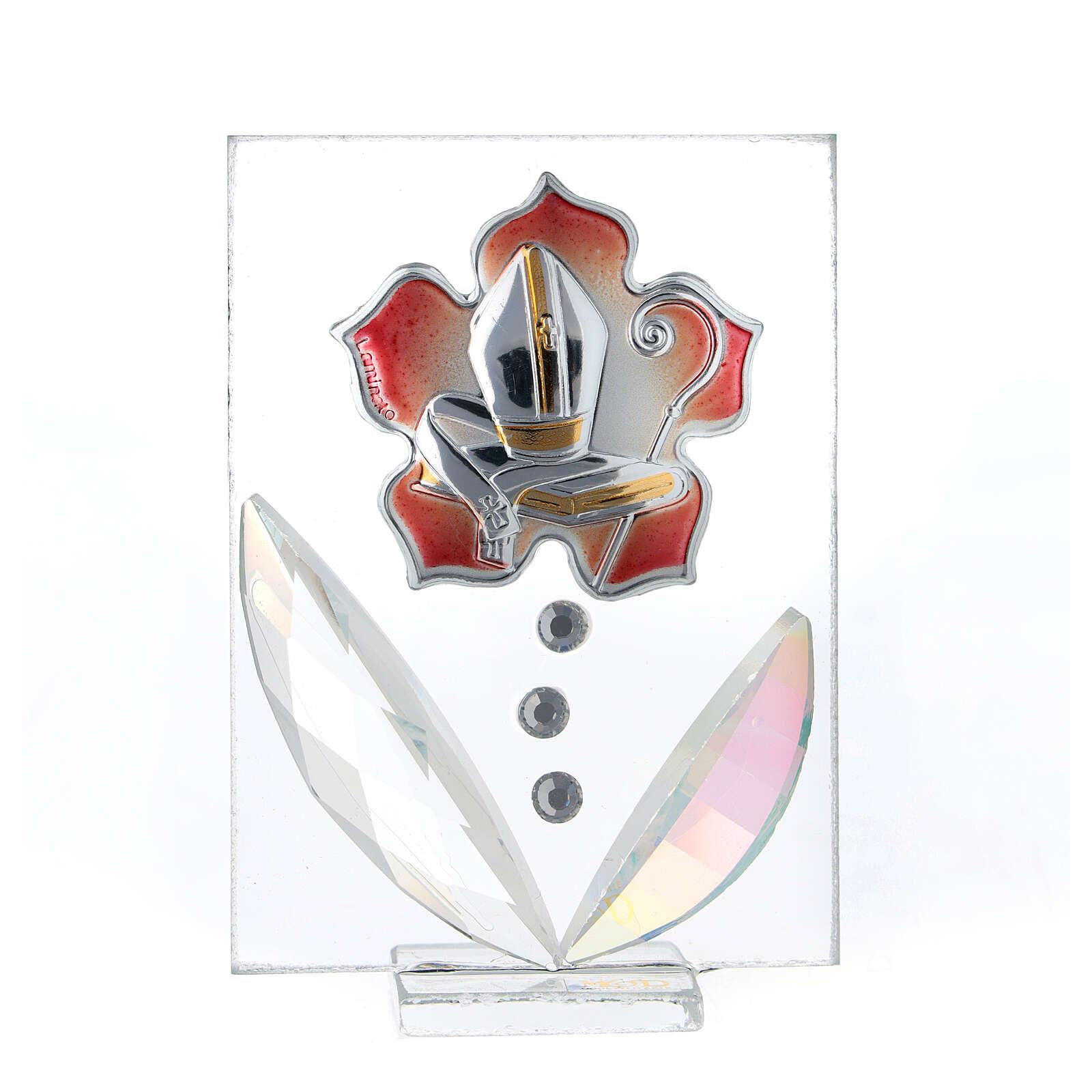 Quadretto Cresima fiore rosso bilaminato 10x5 cm 3