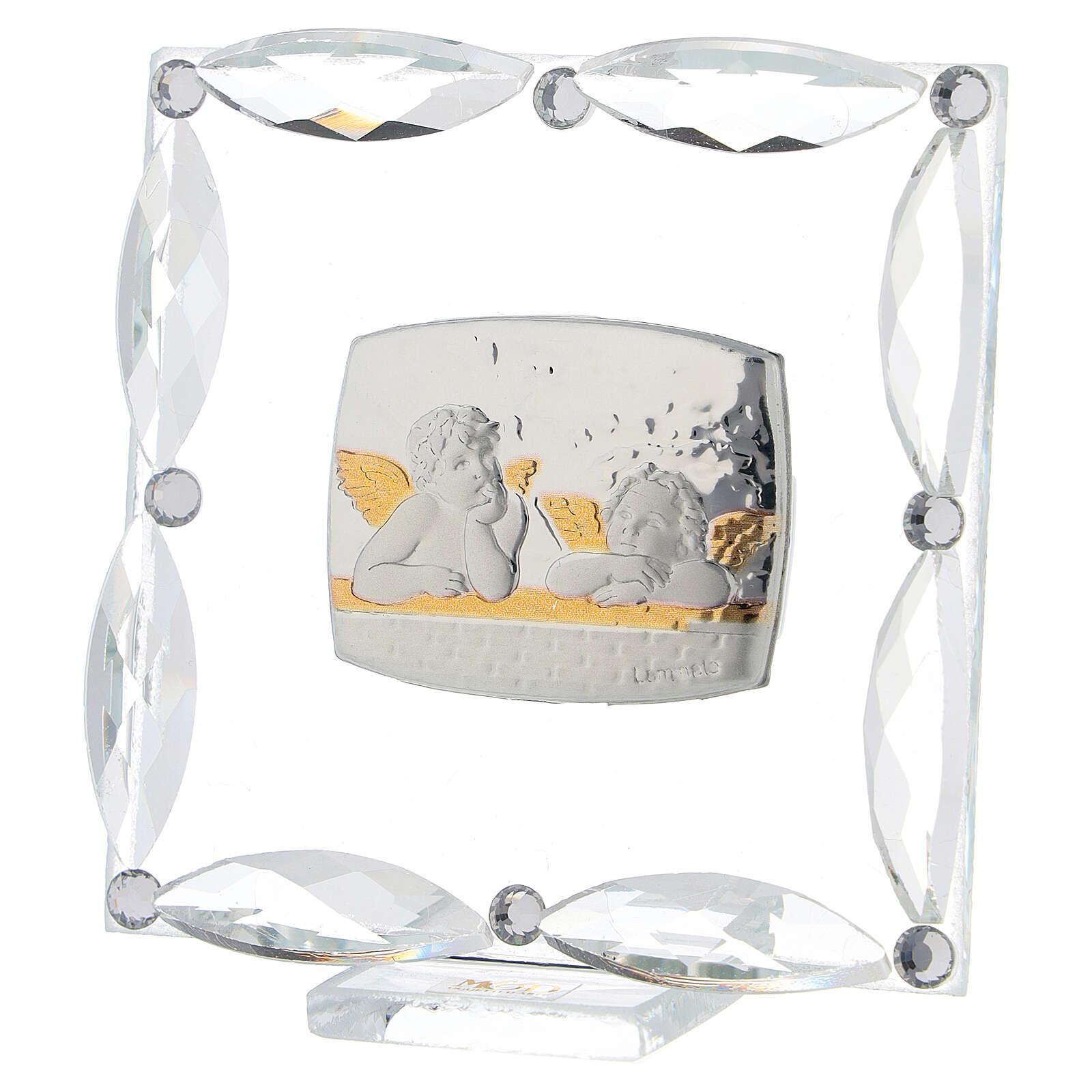 Cuadrito Ángeles cristales blancos 7x7 cm 3