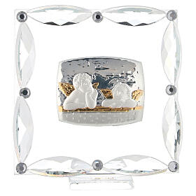 Cuadrito Ángeles cristales blancos 7x7 cm s1