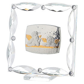 Cuadrito Ángeles cristales blancos 7x7 cm s2