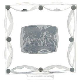 Cuadrito Ángeles cristales blancos 7x7 cm s3