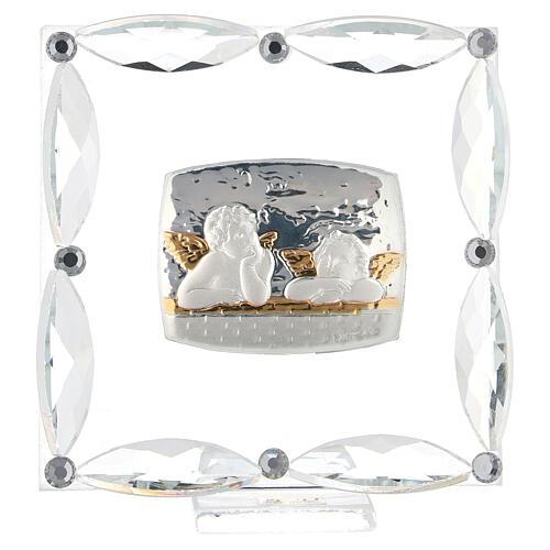 Cuadrito Ángeles cristales blancos 7x7 cm 1