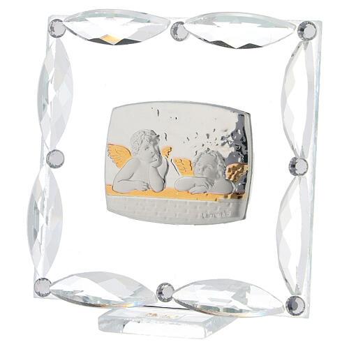 Cuadrito Ángeles cristales blancos 7x7 cm 2