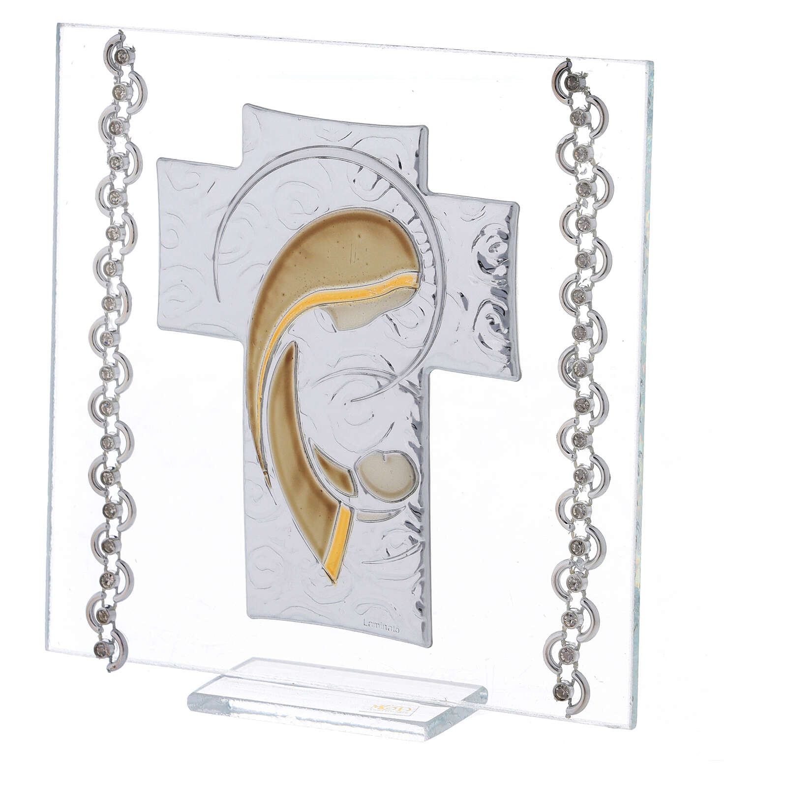 Cuadrito Cruz bilaminado y cuentas strass Maternidad 12x12 cm 3