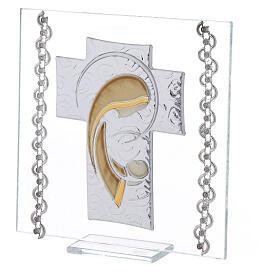 Cuadrito Cruz bilaminado y cuentas strass Maternidad 12x12 cm s2