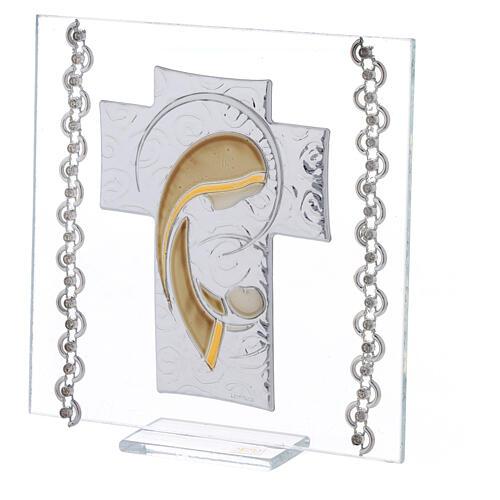 Cuadrito Cruz bilaminado y cuentas strass Maternidad 12x12 cm 2