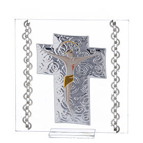 Cuadrito Crucifijo bilaminado laminado 12x12 cm s1