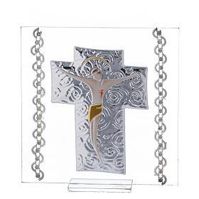 Cadre Crucifix argent bilaminé 12x12 cm s1