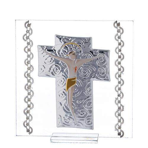 Cadre Crucifix argent bilaminé 12x12 cm 1