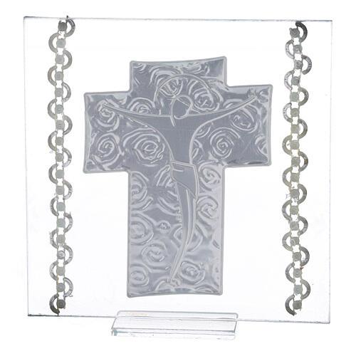 Cadre Crucifix argent bilaminé 12x12 cm 3