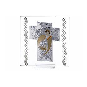 Quadretto Croce Sacra Famiglia 12x12 cm s1