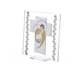 Quadretto Croce Sacra Famiglia 12x12 cm s2