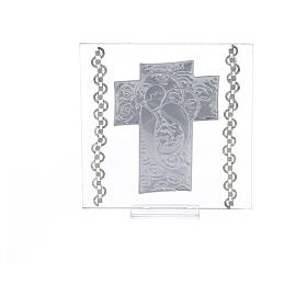 Quadretto Croce Sacra Famiglia 12x12 cm s3