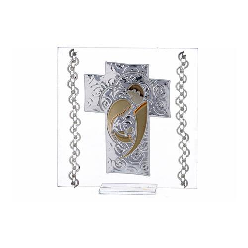Quadretto Croce Sacra Famiglia 12x12 cm 1