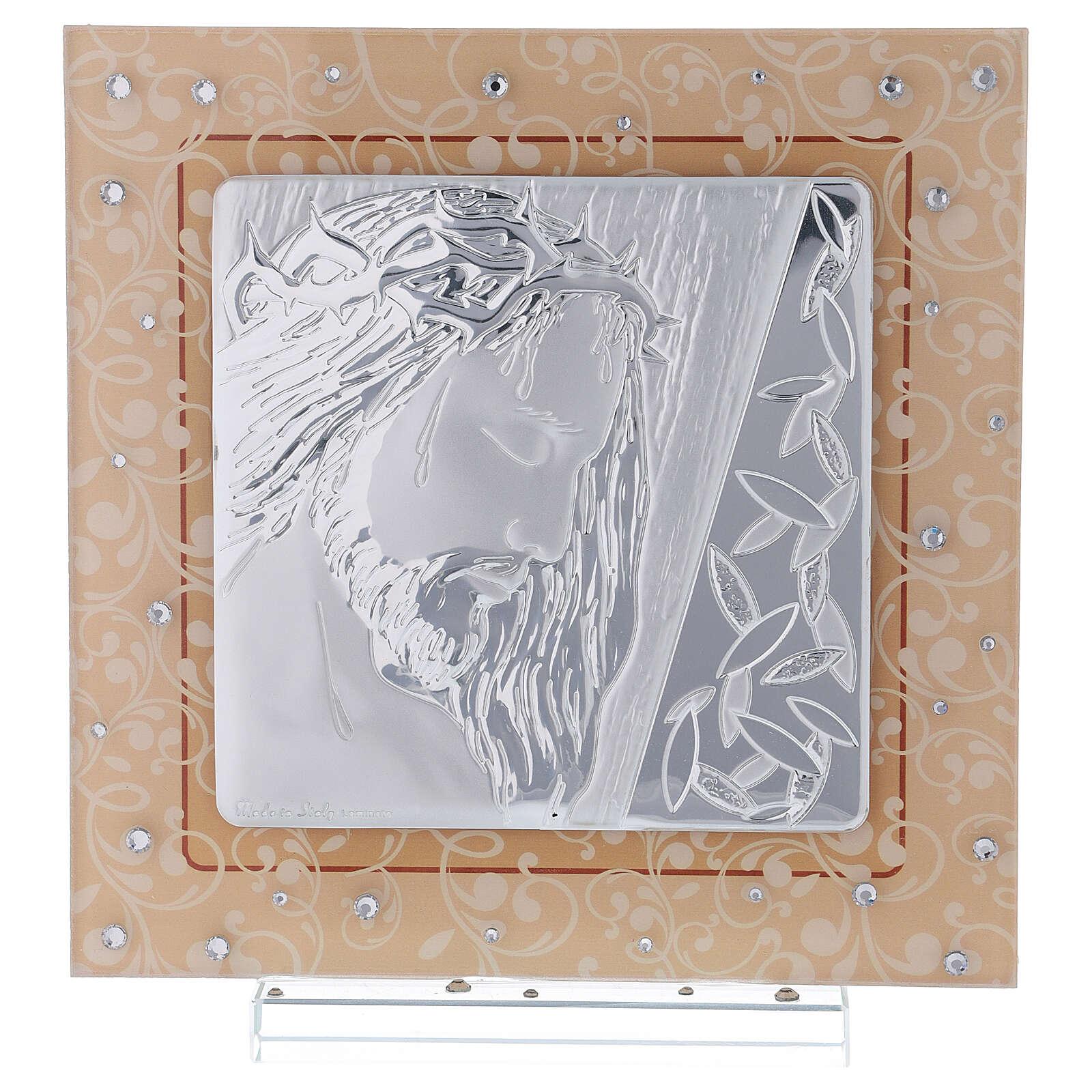 Cuadrito vidrio Murano bilaminado Cristo 20x15 cm 3
