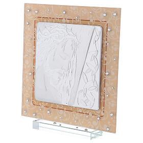 Cuadrito vidrio Murano bilaminado Cristo 20x15 cm s2