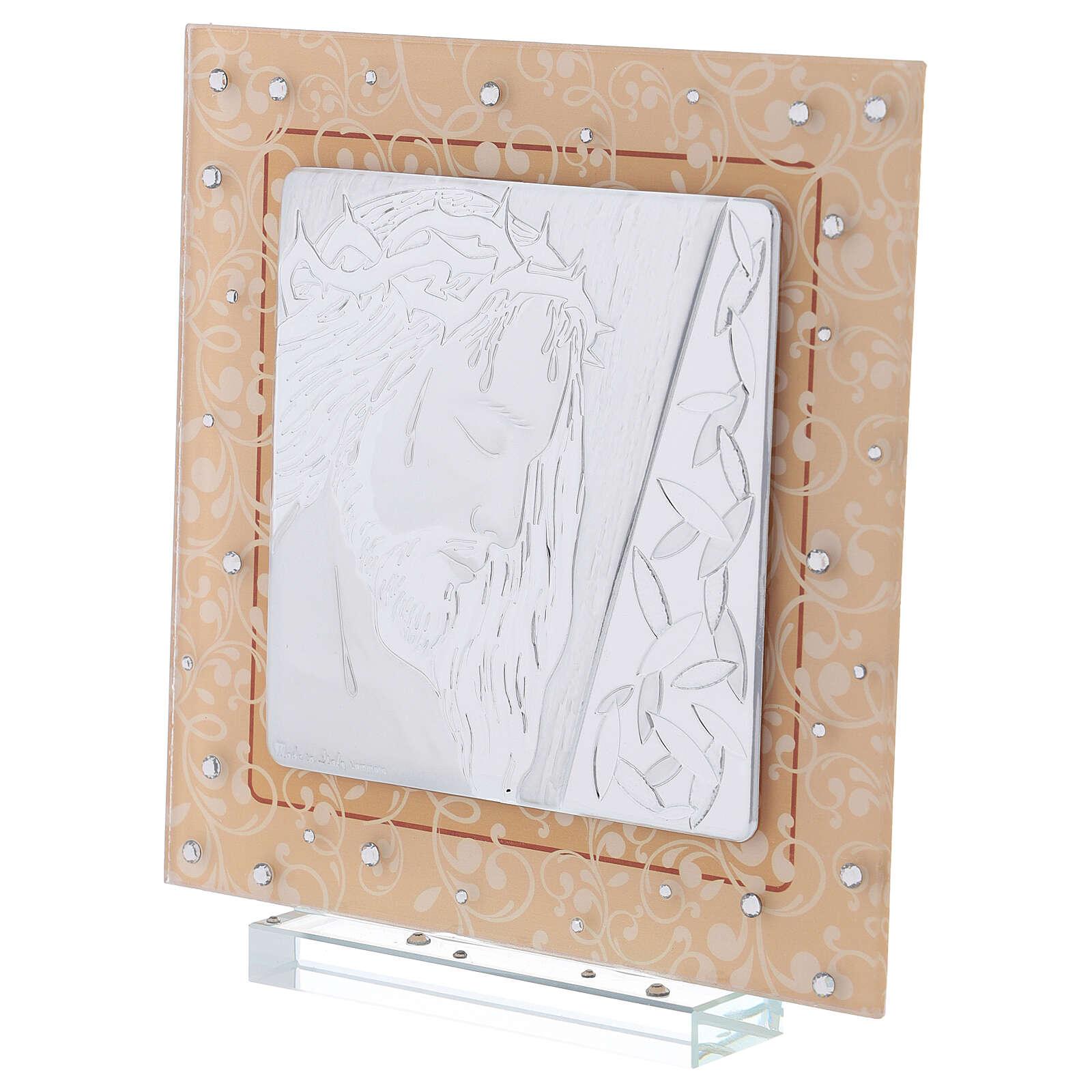 Quadretto vetro Murano bilaminato Cristo 20x15 cm 3