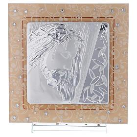 Quadretto vetro Murano bilaminato Cristo 20x15 cm s1