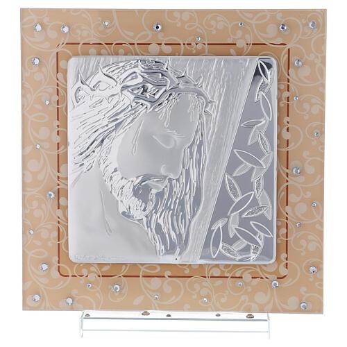 Quadretto vetro Murano bilaminato Cristo 20x15 cm 1