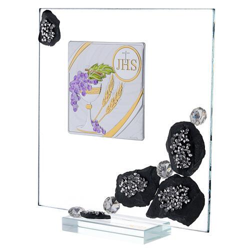 Cuadrito vidrio y pizarra Comunión y purpurina 2