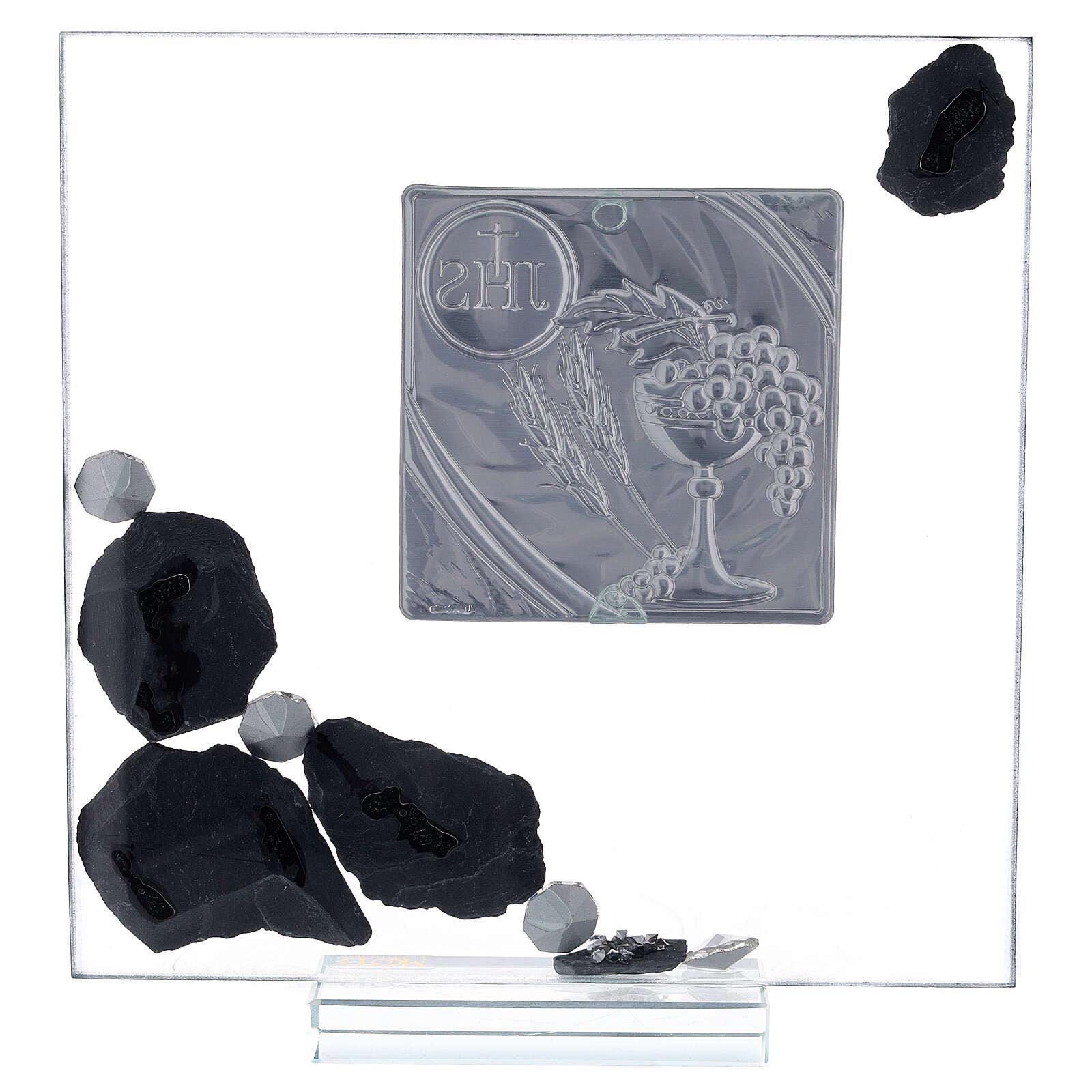 Quadretto vetro e ardesia simbolo Comunione e brillantini 3