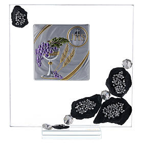 Picture glass and slate Communion symbols and rhinestones s1